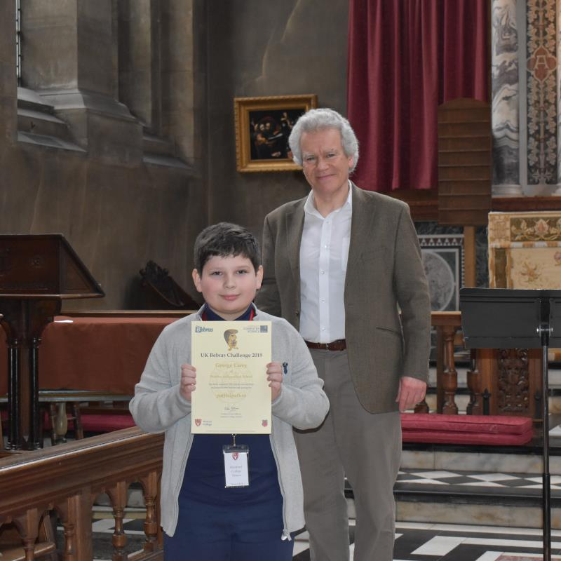 Student George Carey attends computational thinking challenge final at University of Oxford